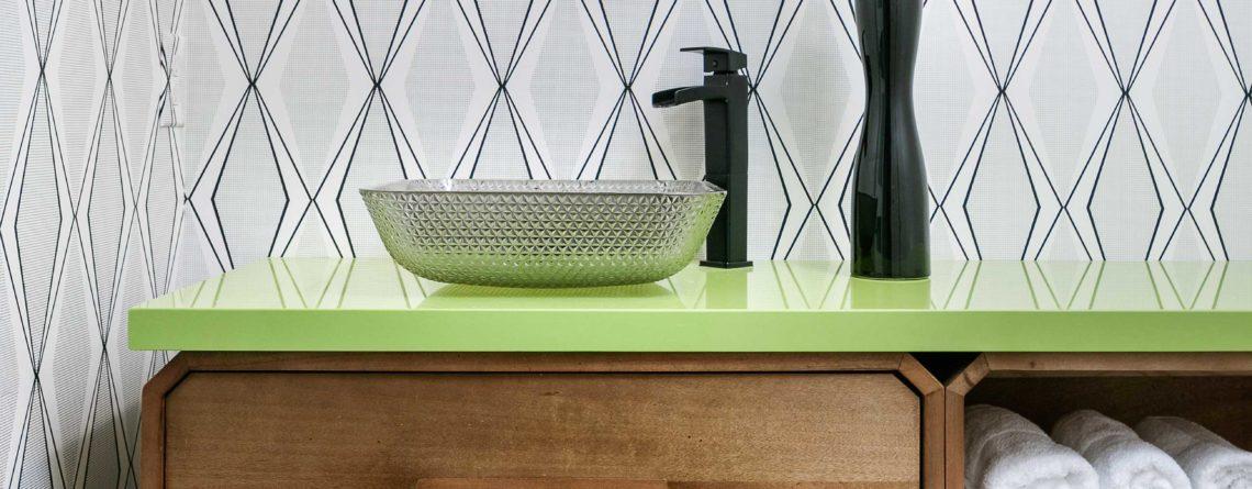 Mission Hills Kansas Bathroom Lime Green Quartz Wallcovering Pendants Vessel Sink Wall Hung Vanity