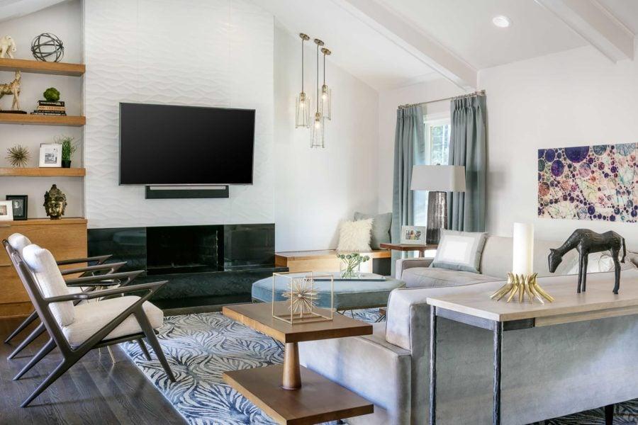Mission Hills Kansas Living Room Mid Century Modern Wave Wall Tile Pendant Cluster Pleated Drapes